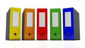 3d File folder. Several multi-colored file folders on white background in 3d Stock Image
