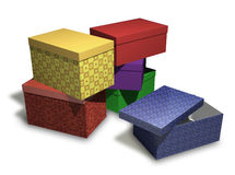 Several multi-colored gift boxes on white backgrou Stock Photo