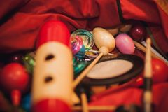 Several Musical Instruments in beg Royalty Free Stock Photos