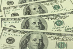 Several new hundred-dollar bills  background Royalty Free Stock Photos