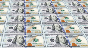 Several of the Newly Designed U.S. One Hundred Dollar Bills. Royalty Free Stock Photography