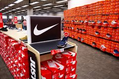 Several Nike shoe boxes royalty free stock photos