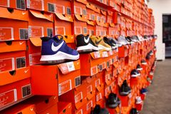 Several Nike shoe boxes royalty free stock images