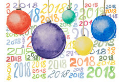 Several numbers of different colors for the new year 2018 and Christmas balls painted in watercolor on a white background Royalty Free Stock Images