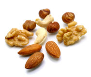 Several nuts and almonds Royalty Free Stock Photo