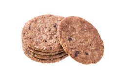 Several oatmeal cookies in a stack. Stock Photo