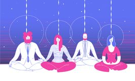 Several office workers in smart clothing sit in yoga position and meditate against abstract blue background. Concept of. Business meditation and team building Royalty Free Stock Image