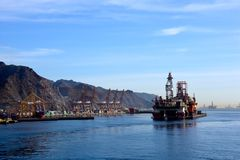 Oil Drilling platform at Tenerife, Canary Islands Stock Images