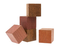 Several old cubes of wood, used by children for building Royalty Free Stock Image