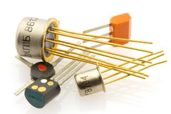 Several old-fashioned transistors Royalty Free Stock Images