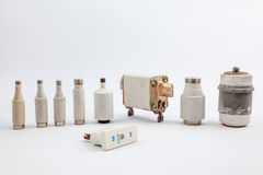 Several old fuse. With an white background there are several old fuse royalty free stock image