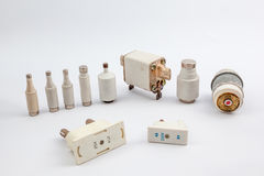Several old fuse. With an white background there are several old fuse stock photography