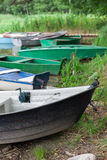 Several old rowing boats. Royalty Free Stock Images