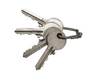 Several old rusty keys on ring. (clipping path Stock Photos