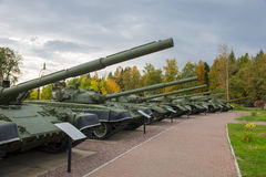 Several of the old Soviet tank exhibited Stock Photography
