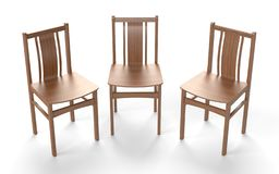 Several old style chairs on the white background. vector illustration