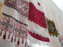 Several old towels with Ukrainian national pattern Royalty Free Stock Photo
