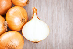Several onions on the table Stock Image