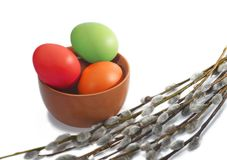 Several osier of willow and Easter eggs Stock Photo