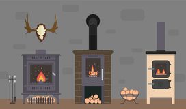 Several ovens and accessories to them. Stone and brick classical and modern fireplaces. Fire and firewood. Reindeer antlers on the wall Royalty Free Stock Photos