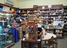Inside of a tobacco shop in Rome royalty free stock image