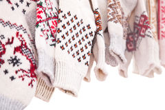 Several pairs of knitted woolen socks Stock Images