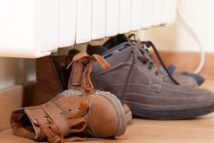Several pairs of shoes Stock Photos
