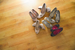 Several pairs of women's shoes Royalty Free Stock Image