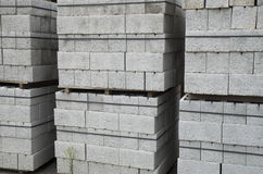 Several pallets of concrete blocks closeup Royalty Free Stock Photo