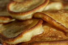 Several pancakes close-up. Several of pancakes on a plate close-up Royalty Free Stock Images