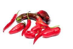 Several paprika and chili peppers Royalty Free Stock Images