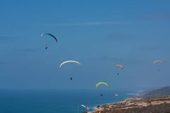 Several paragliders at Torrey Pines Gliderport in La Jolla Royalty Free Stock Photography