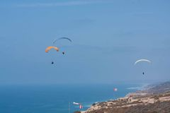Several paragliders at Torrey Pines Gliderport in La Jolla Royalty Free Stock Photo