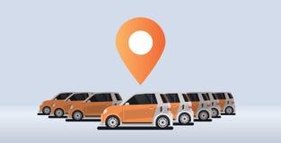 Several parked rental car sharing geo location mark carsharing concept online auto rent carpooling service flat. Horizontal banner vector illustration royalty free illustration
