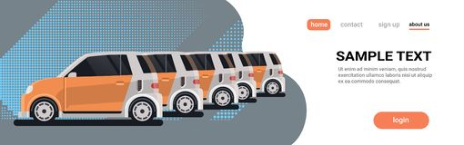 Several parked rental car sharing vehicles center carsharing company concept online auto rent service flat copy space. Horizontal banner vector illustration royalty free illustration