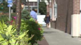 Several pedestrians on quiet sidewalk (1 of 3). A view or scene from around town stock video footage