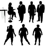 Several people are dancing. Obese people. Vector silhouettes Royalty Free Stock Image