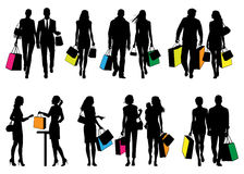 Several people in shopping center - vector silhouettes Stock Image