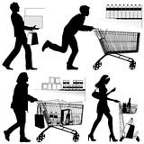Several people, shopping - vector silhouettes. Several people. You can put each number of products in shopping trolley Stock Image