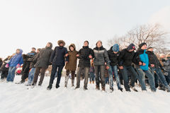 Several people standing in a row in the Central Park Royalty Free Stock Images