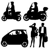 Several people on a street. Silhouettes vector illustration
