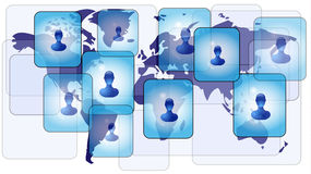 Several persons in social media. Network on world map Royalty Free Stock Images