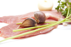 Several pieces of meat with garlic Stock Image