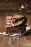 Several pieces of raspberry brownie Stock Photography