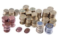 Several piles of european coins Stock Images