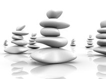 Several Piles of stones balance. 3d Stock Photos