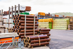 Several pipes stacked in yard Royalty Free Stock Images