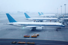 Several planes is at airport Royalty Free Stock Photos