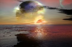 Alien landscape with ocean Royalty Free Stock Photos