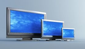 Several of plasma television s. 3d rendering plasma television set into the room Royalty Free Stock Image